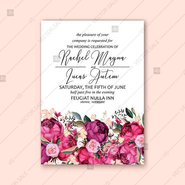 Marsala Peony Wedding Invitation Watercolor Greenery