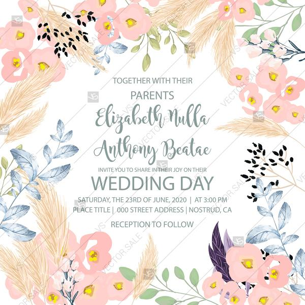 Wedding Invitation Watercolor Pink Flower Greenery