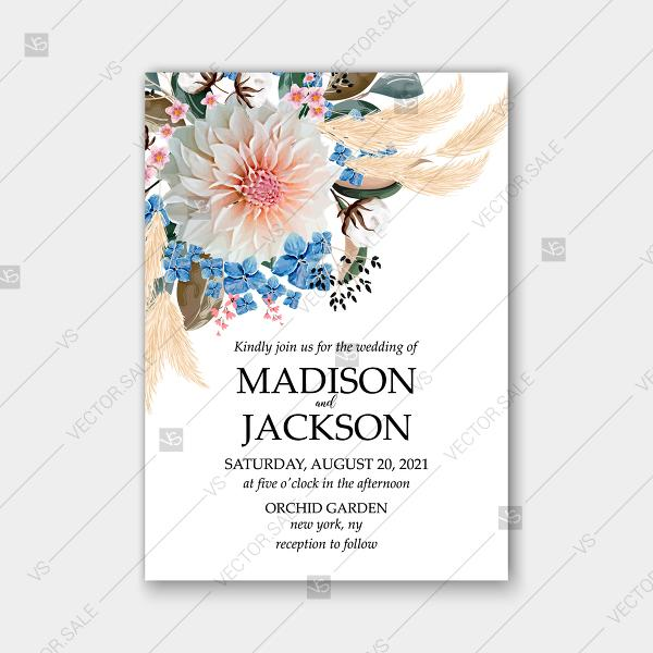 Wedding - Wedding invitation watercolor greenery pampas grass hydrangea chrysanthemum cotton template autumn
