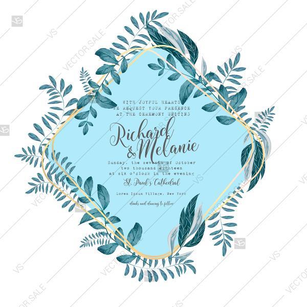 Wedding Invitation Watercolor Blue Greenery Illustration