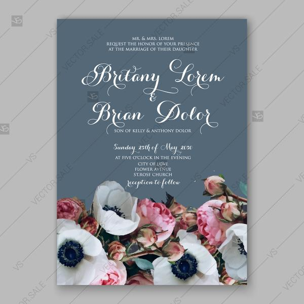 Свадьба - Wedding invitation floral white anemone pink rose and greenery mothers day card