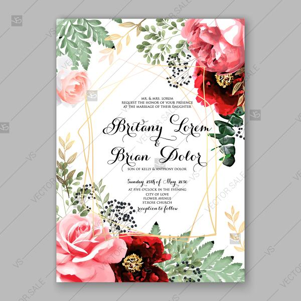 Wedding - Pink maroon peony, pink rose, eucalyptus fern floral wedding invitation vector card template botanical illustration