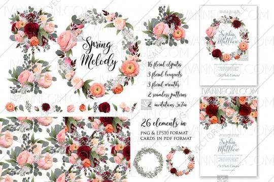 Hochzeit - Rose peony wedding invitation clipart floral set png