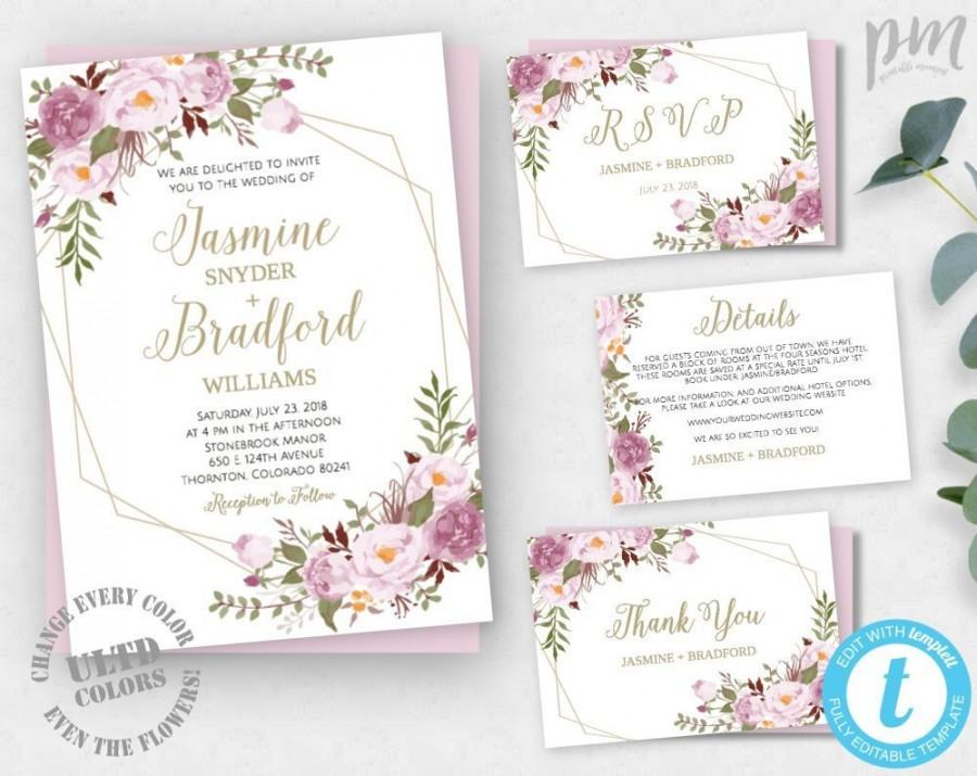 Floral Geometric Wedding Invitation Template Printable DIY Bohemian