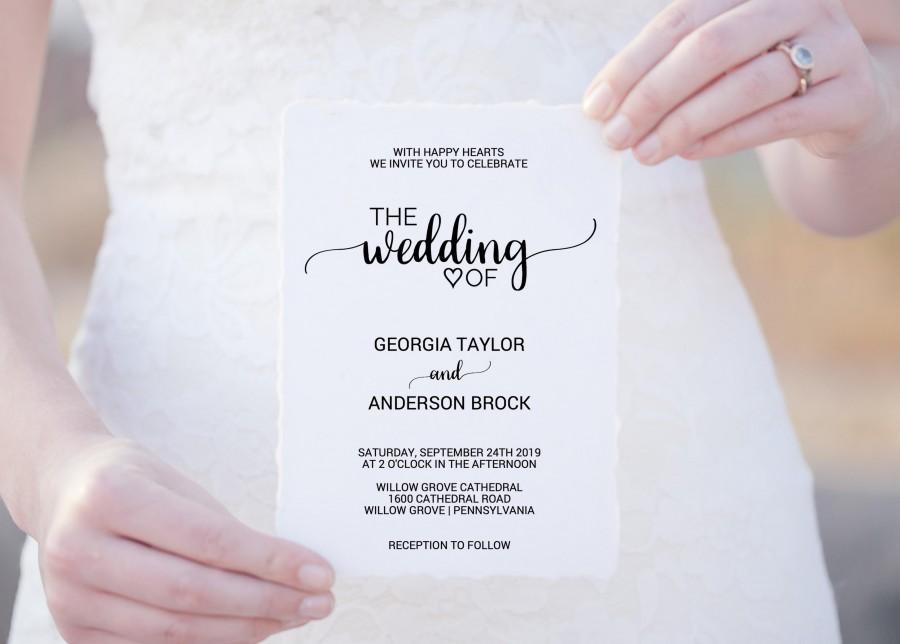 زفاف - Rustic Calligraphy Wedding Invitation Template: A Printable Simple Black and White Wedding Invite, DIY Editable PDF Instant Download K008