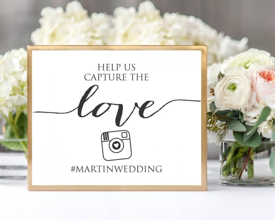 Mariage - Wedding Instagram Photos Sign, TWO Sizes, Hashtag Photos Sign Instant Download, DIY Sign Printable, Wedding Reception Instagram Sign