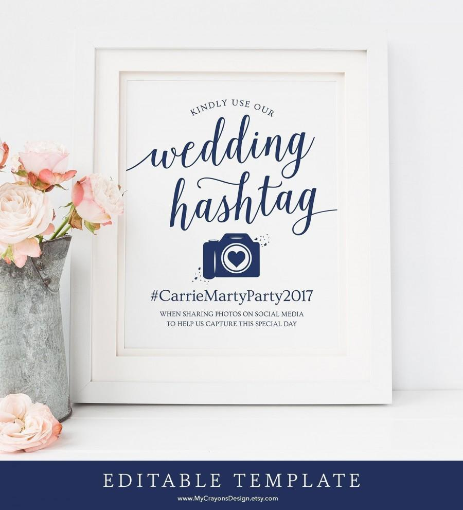 Mariage - Navy Wedding Hashtag Sign Printable / Editable Hashtag Printable Sign / Hashtag Wedding Signs Navy / Hashtag Sign Instant Download