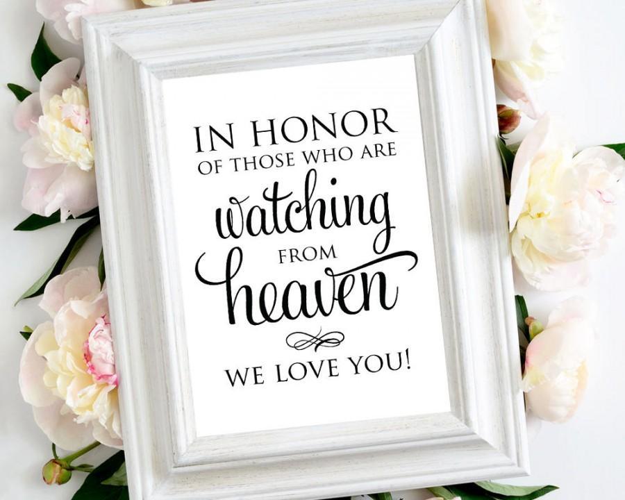 زفاف - In Honor of Those Watching from Heaven Sign, Memorial Table Sign, 8x10 Wedding Sign, DIY Sign Printable, In Memory Sign Template