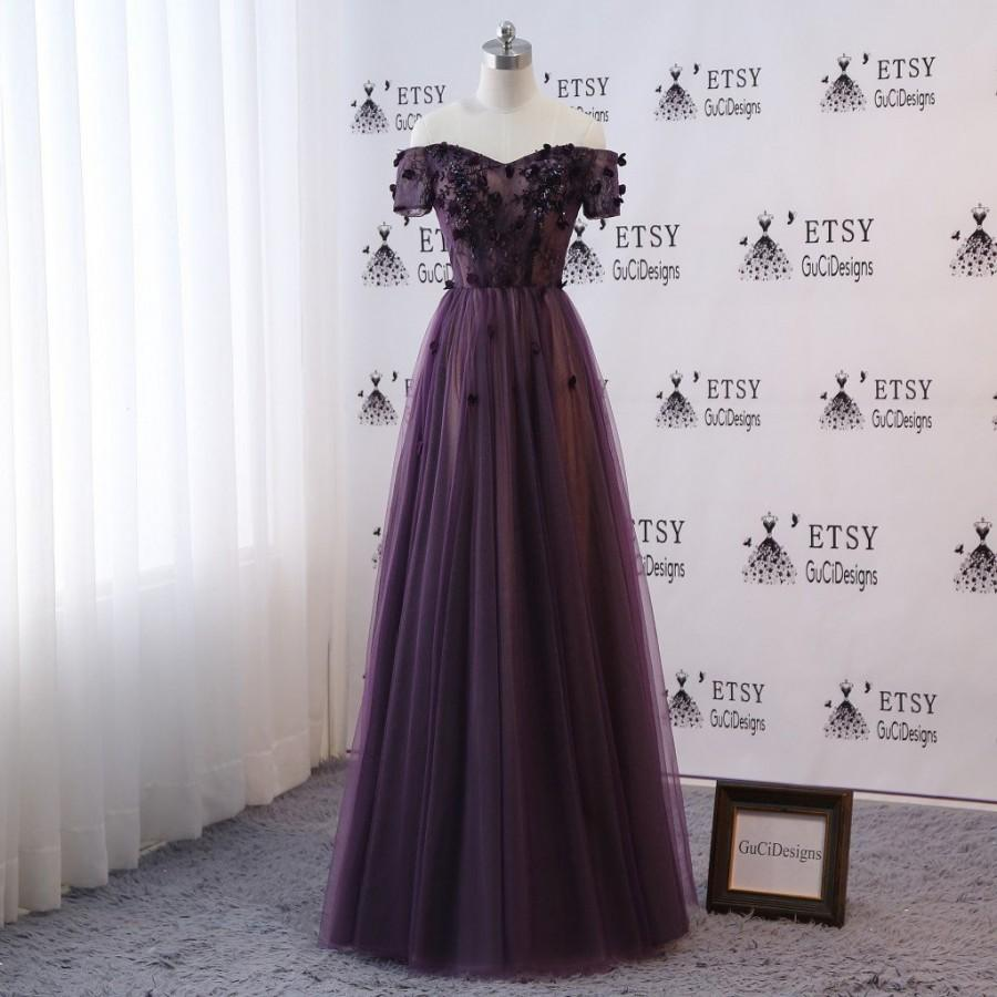 زفاف - Sexy Off Shoulder 2018 Women Formal Evening Prom Party Dresses Long Purple Ball Gown Short Sleeve Girls Fashion Floral Flowers Party Dress