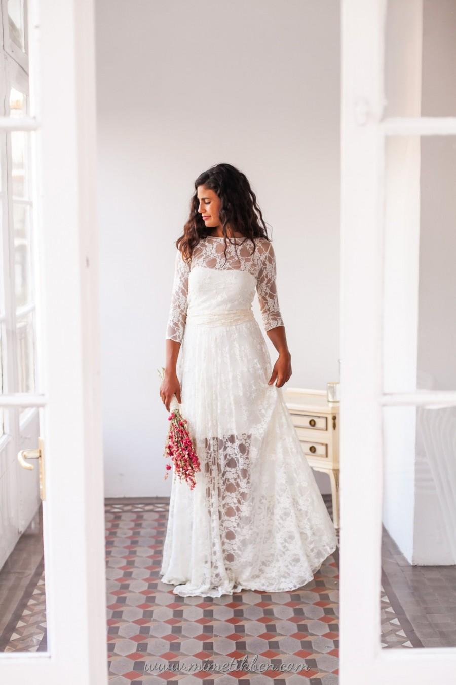 Hippie Wedding Dress Lace Illusion Lace Retro Wedding Dresses Ivory Lace Sleeves Bridal Gown Wedding Dress Hippie Wedding Dress Lace Boho 2908465 Weddbook