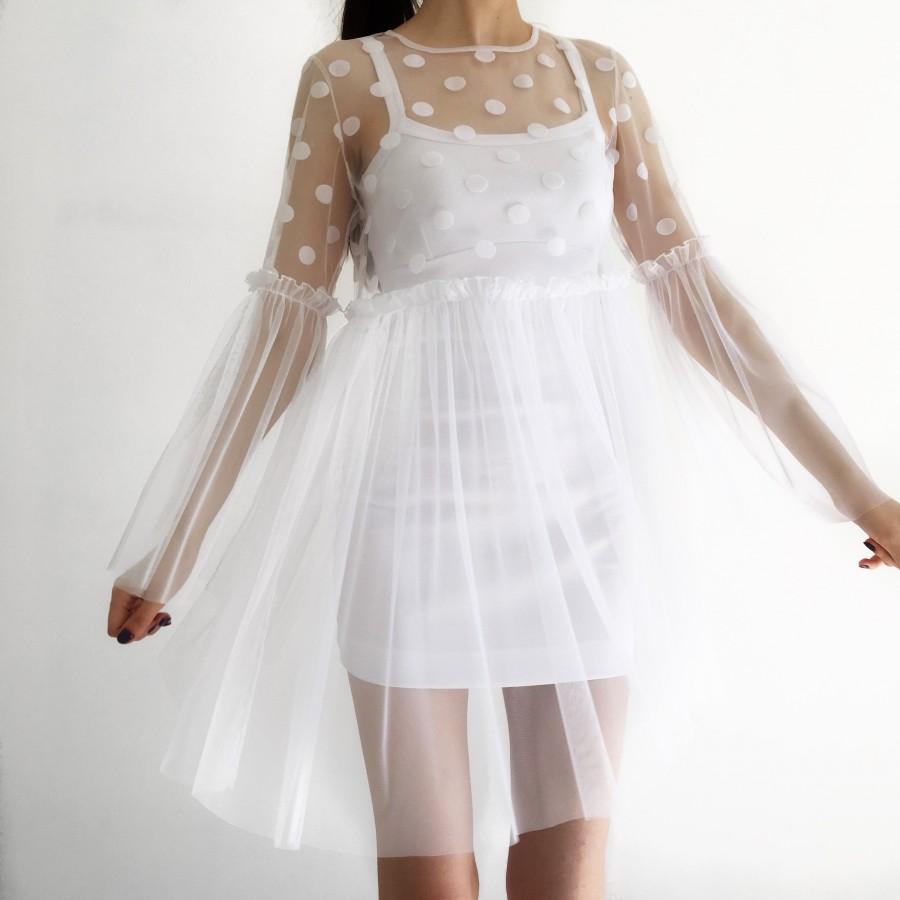 زفاف - Transparent dress, tulle dress, mesh dress, polka dot dress, boudoir dress, sheer dress, over dress, white dress, summer dress, formal dress