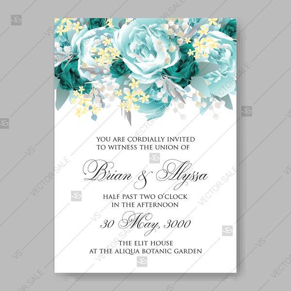 Vintage Wedding Invitation Vector Card Template Mint Green