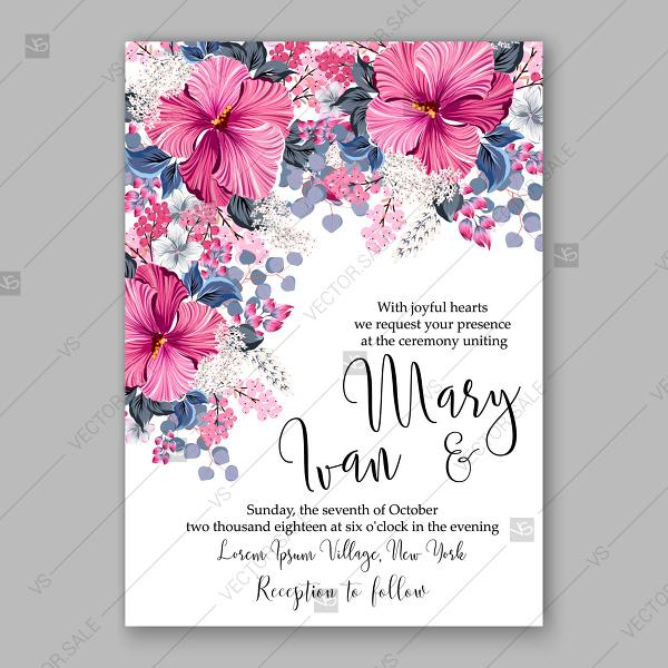 Tropical Pink Hibiscus Lilac Wedding Invitation Vector Card Template