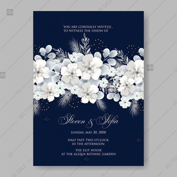 White Hydrangea On Blue Background Vector Floral Card For