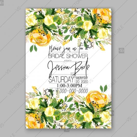 Hochzeit - Wedding invitation card Template Yellow rose floral greeting card