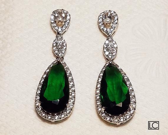 33f3bb76ad6d9 Emerald Crystal Bridal Earrings, Green Chandelier Earrings, Emerald ...