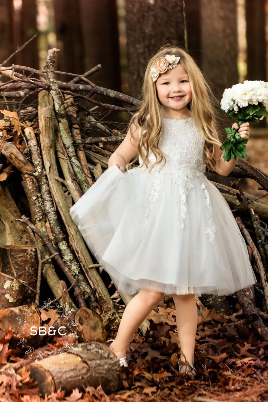 d08304901 Flower Girl Dresses-Rustic Flower Girl Dresses-Vintage girl dress-Country  Dress-White Tulle dress-Birthday Dresses-Baptism Dress-White Dress. 69.99.  Wedding ...