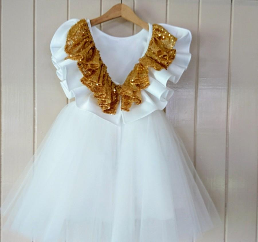 Mariage - Flower Girl Dress White, Ivory with ruffled Back design in Rose Gold, Gold, Silver, customised, knee length, Tea Length, Floor Length