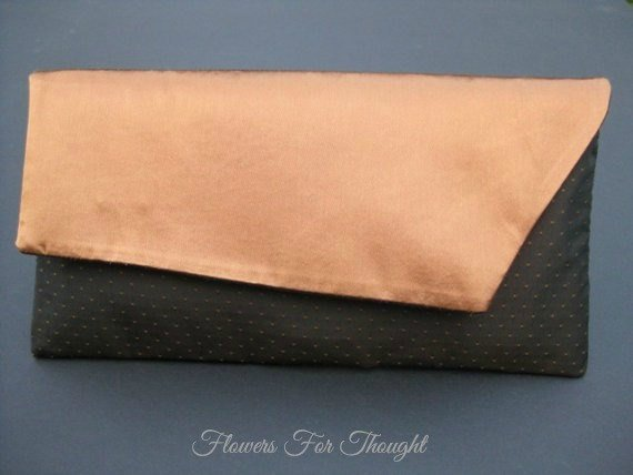 Mariage - Copper Brown Clutch, Foldover Bag, Envelope Style Evening, Wedding, Special Occasion