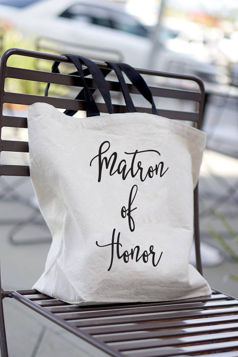 Mariage - Matron of Honor Gift - MOH Gift - Welcome Tote - Matron of Honor - Wedding Party Canvas Bags - Wedding Favor Bags - Bachelorette Party
