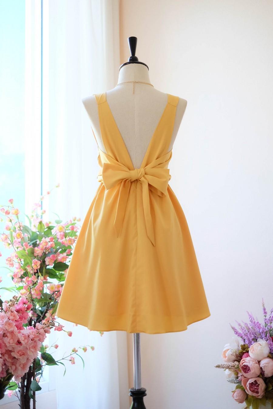 7307a1623363 Light Mustard dress mustard Bridesmaid dress Wedding Prom dress Cocktail  Party dress Evening dress Backless bow dress