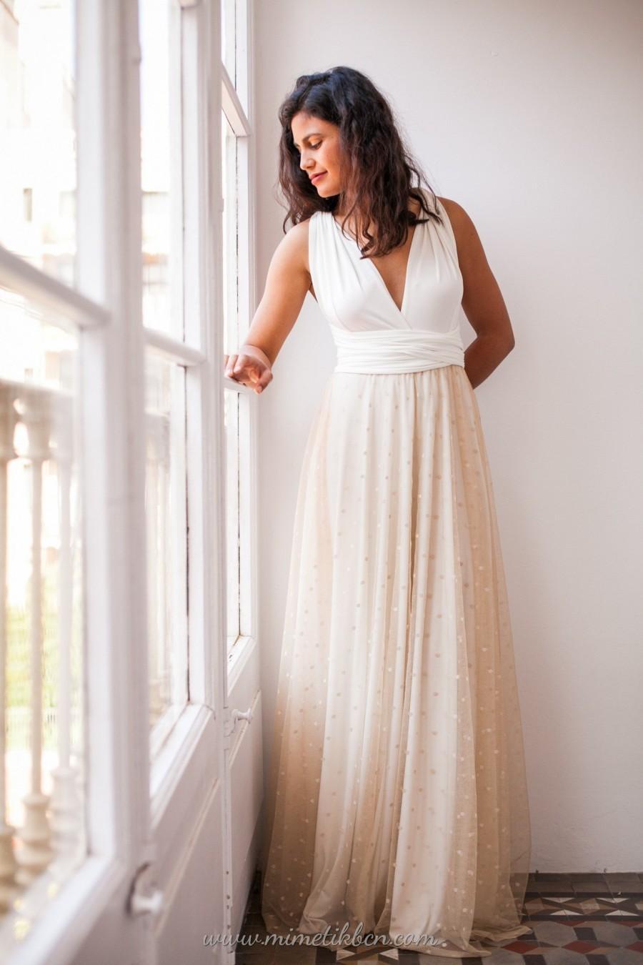 Hochzeit - Removable polka dot tulle skirt, light beige tulle skirt, warm beige tulle overskirt, rustic tulle overskirt for wedding dress, detachable