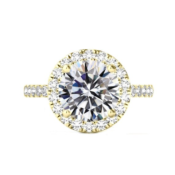 Wedding - 6 Carat Round Moissanite & 2mm Diamond Halo Band Engagement Ring 14k Yellow Gold, 12mm Moissanite Engagement Ring, Raven Fine Jewelers