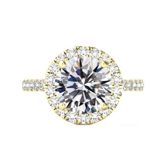Свадьба - 6 Carat Round Moissanite & 2mm Diamond Halo Band Engagement Ring 14k Yellow Gold, 12mm Moissanite Engagement Ring, Raven Fine Jewelers