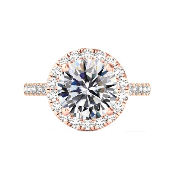 Hochzeit - 6 Carat Round Moissanite & 2mm Diamond Halo Band Engagement Ring 14k Rose Gold, 12mm Moissanite Engagement Ring, Raven Fine Jewelers