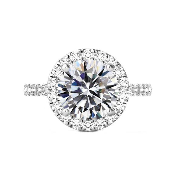 زفاف - 6 Carat Round Moissanite & 2mm Diamond Halo Band Engagement Ring 14k White Gold, 12mm Moissanite Engagement Ring, Raven Fine Jewelers