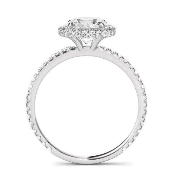 Hochzeit - 2 Carat Round Forever One Moissanite & Diamond Double Edge Halo Engagement Ring, Moissanite Engagement Ring, Moissanite Rings, Handmade Ring