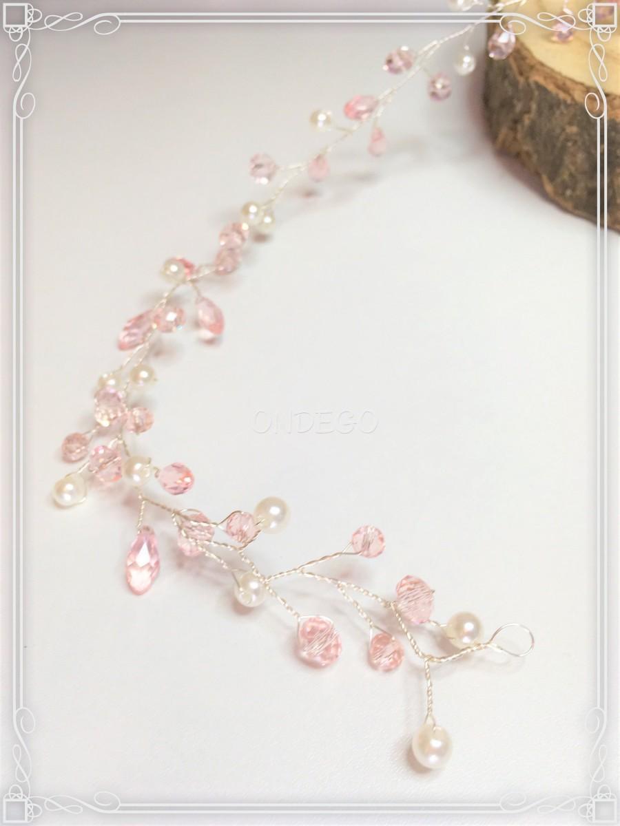 Свадьба - Pink wire crystal hair jewelry Bridal jewelry wedding Jewelry Beads Bride