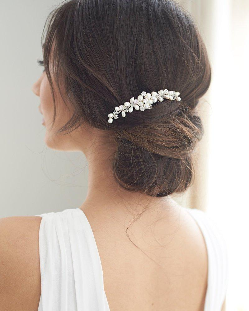 Свадьба - Pearl & Crystal Bridal Comb, Silver Wedding Comb, Freshwater Pearl Wedding Accessory, Rhinestone Comb, Crystal Wedding Comb ~TC-2331