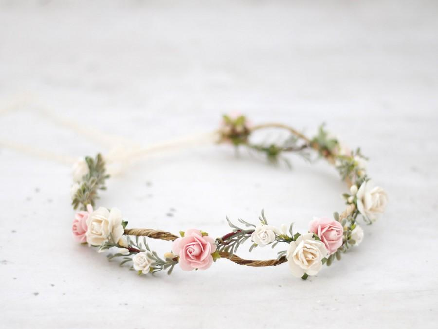 Свадьба - Blush flower crown wedding, rustic floral headband bride