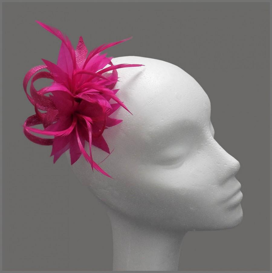Свадьба - Wedding hair clip, fuschia fascinator, pink headpiece, sinamay loops & floral feather effect, made to order, special occasion, bridesmaid