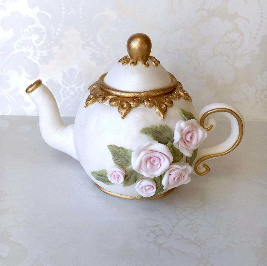 Mariage - Tea Party Cake Topper. Tea Party Bridal Shower Cake Topper. Vintage Fondant Teapot. Edible Teapot Cake Topper. Vintage Tea Party Cake Topper