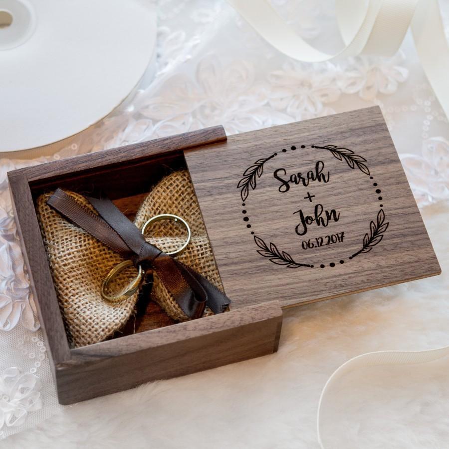 Hochzeit - Square Walnut Ring Bearer Box ( Custom Engagement Ring Box , Proposal Box , Jewelry Gift Box , Small USB Box , Wedding Ring Box )