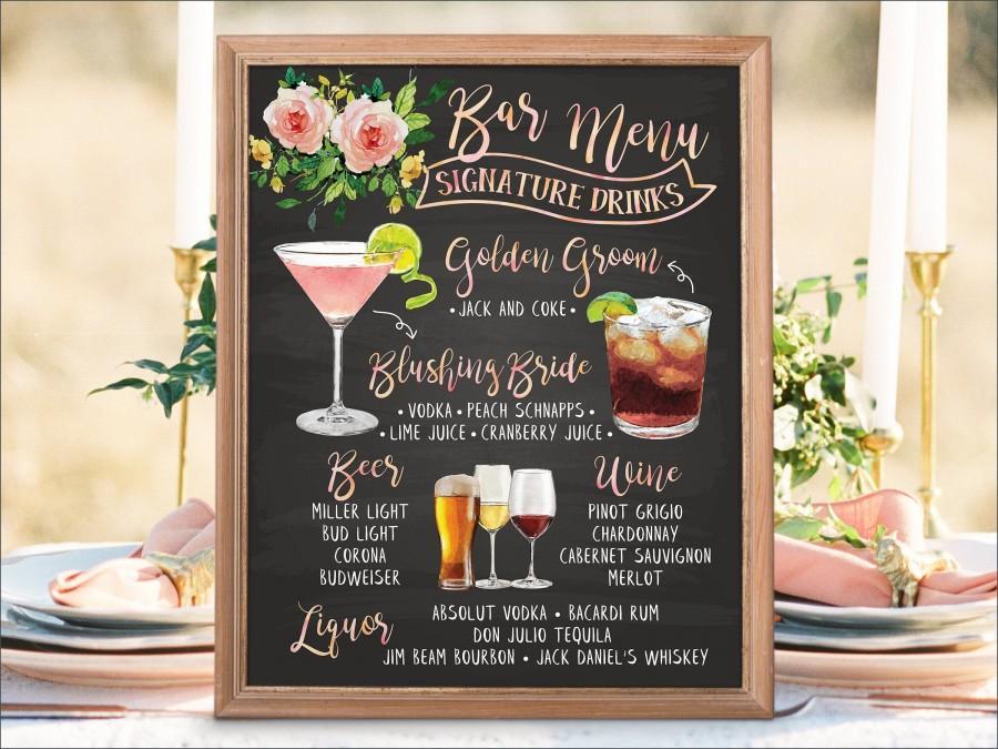 The Bar //// drinks list //// weddings //// copper //// copper wedding //// wedding signs