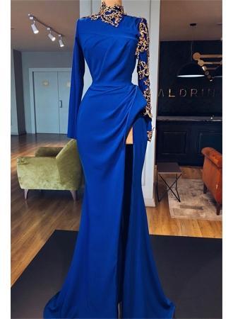 Wedding - Royal-Blue High Neck Long-Sleeves Evening Dresses