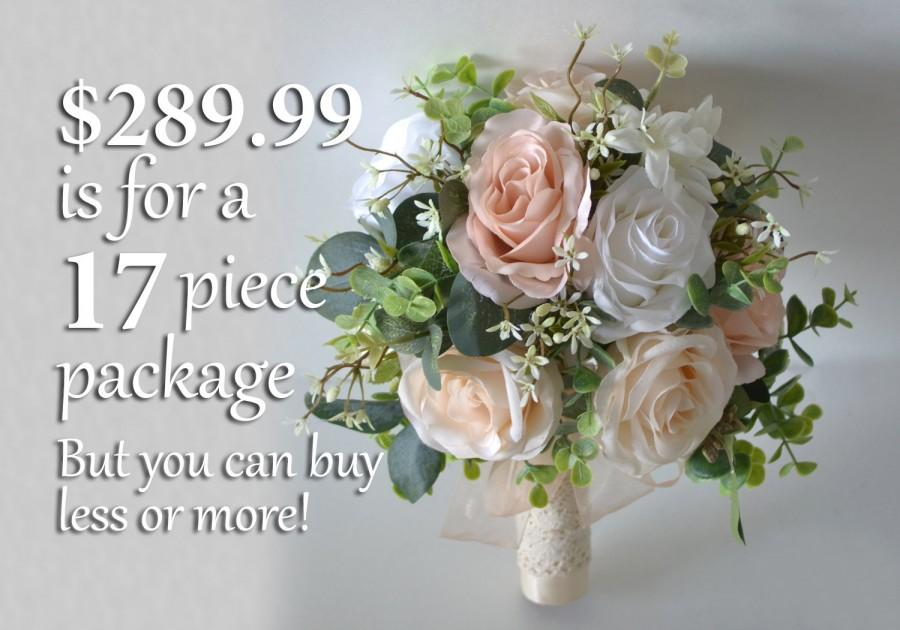 Mariage - Wedding Bouquet, Bridal Bouquet, Bridesmaid Bouquet, Silk Flower Bouquet, Wedding Flower, blush, peach, ivory, greenery, Lily of Angeles