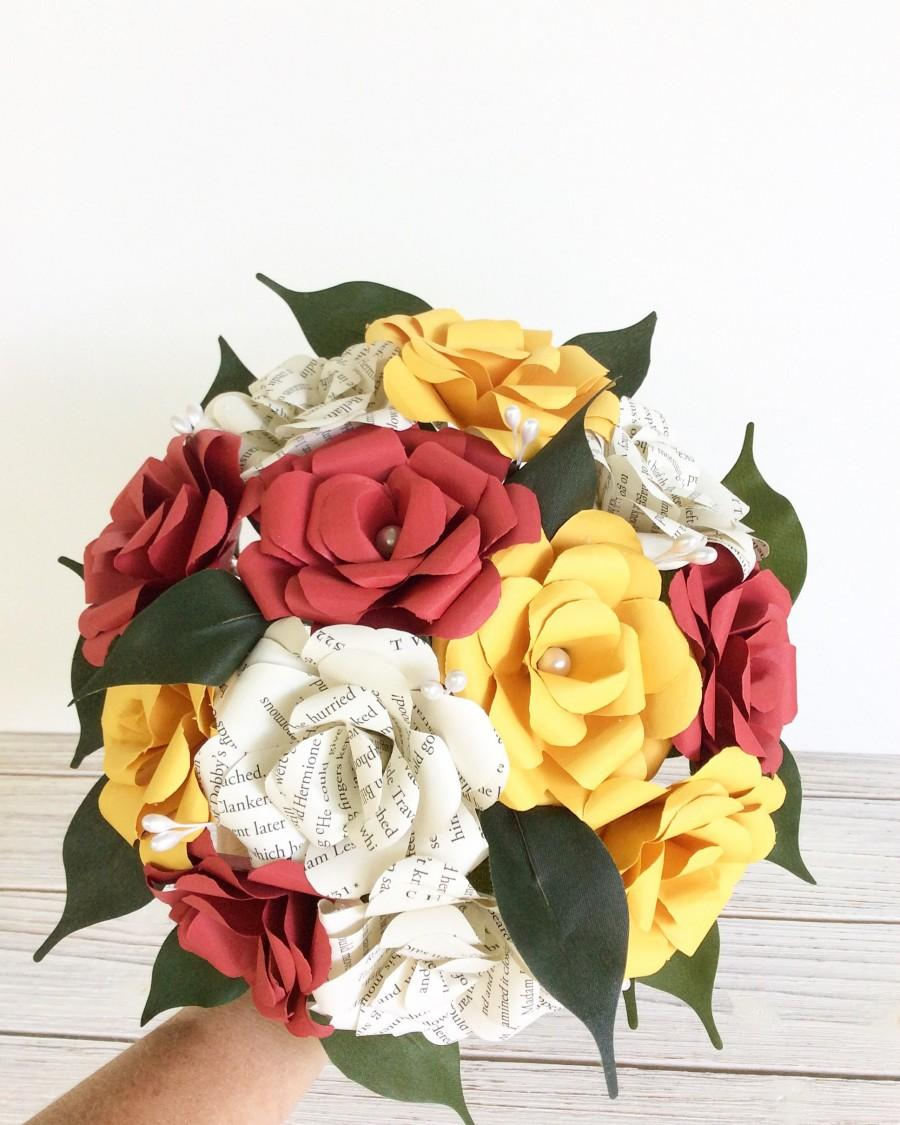 Mariage - Book Bouquet, Harry Potter Bouquet, Book Flowers, Paper Roses, House of Gryffindor (ITEM: TPG55I)