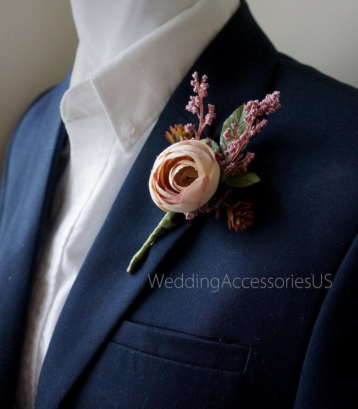 Mariage - Mauve Wedding Boutonnieres Men's boutonniere Groom Groomsmen boutonnieres Rustic Boutonniere Boho boutonniere