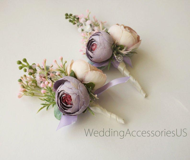 زفاف - Wedding Boutonniere Lavender boutonniere Lilac Button hole Purple White Groomsman boutonniere  Rustic wedding