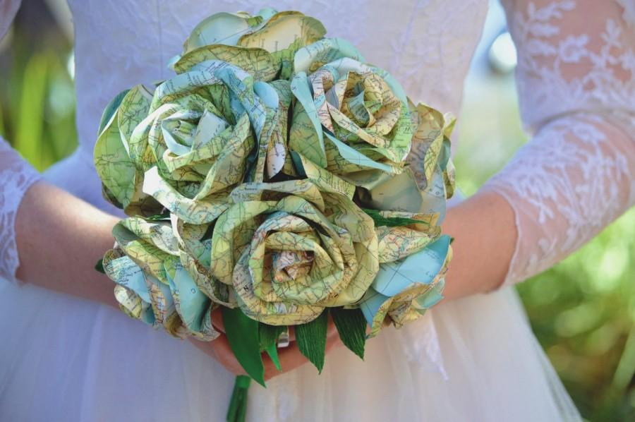 Wedding - Travel Map Alternate Wedding Bouquet Handmade from World Maps with FREE SHIPPING