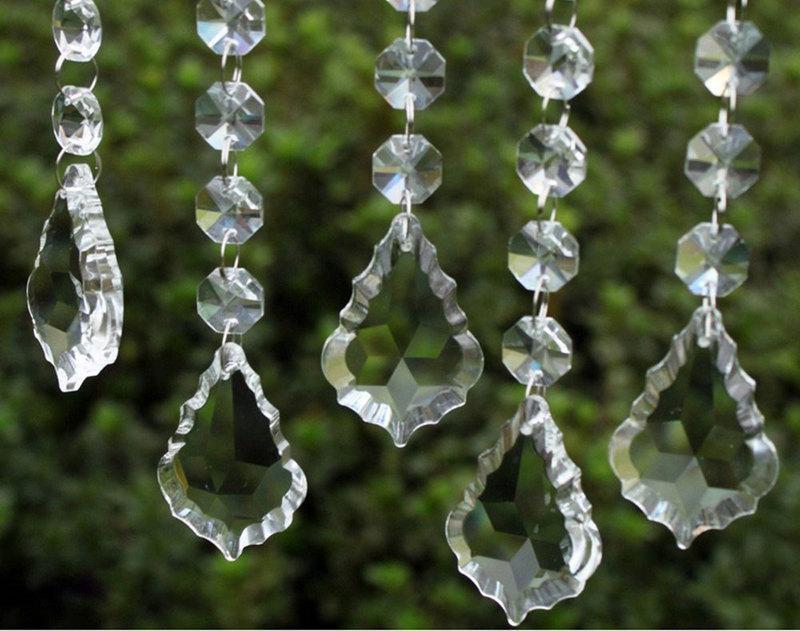 Mariage - 30pcs Clear Crystal Maple Leaf Prisms Wedding Garland Hanging Crystal Pendant Chandelier Wedding Party Decoration