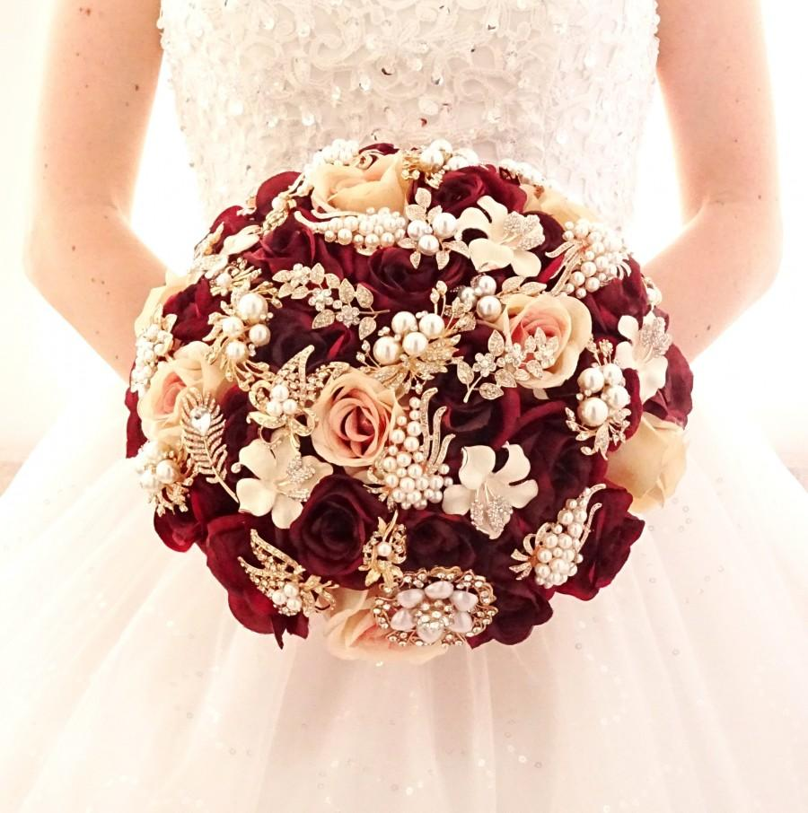 Mariage - Silk flower burgundy wine rose gold brooch bouquet , gold jeweled crystal alternative unique bouquet by Memory Wedding
