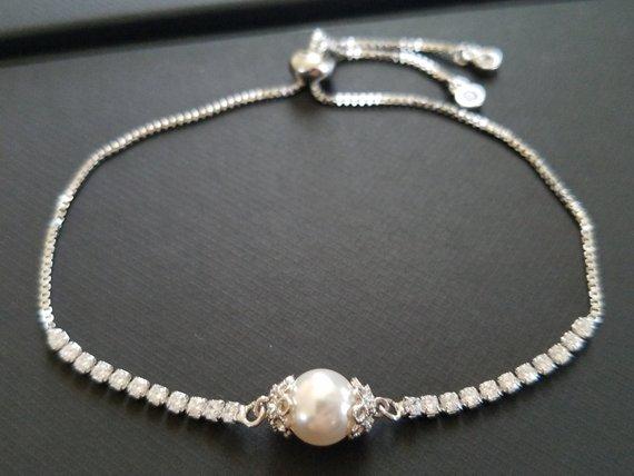 Mariage - Pearl Bracelet, Wedding Bracelet, Swarovski White Pearl Bracelet, Adjustable Bracelet, Bridal Pearl Jewelry, Pearl Slide Silver Bracelet