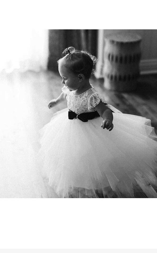 Wedding - Lace flower girl dress ' Audrey' with sleeve , diamond white pouffy tulle skirt , satin sash , french lace,  pearls, communion , fairy dress
