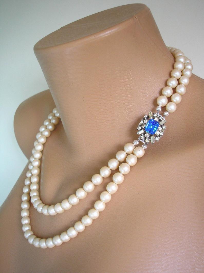 Hochzeit - Vintage Pearls With Sapphire Rhinestone Clasp, Long Pearl Necklace, Pearl Bridals, Blue Bridal Jewelry, Cobalt Rhinestone, Gatsby, Art Deco