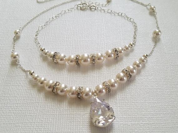 Wedding - White Pearl Necklace&Bracelet Jewelry Set, Swarovski Pearl Bridal Jewelry Set, White Pearl Wedding Jewelry, Bridal Jewelry Set, Prom Jewelry